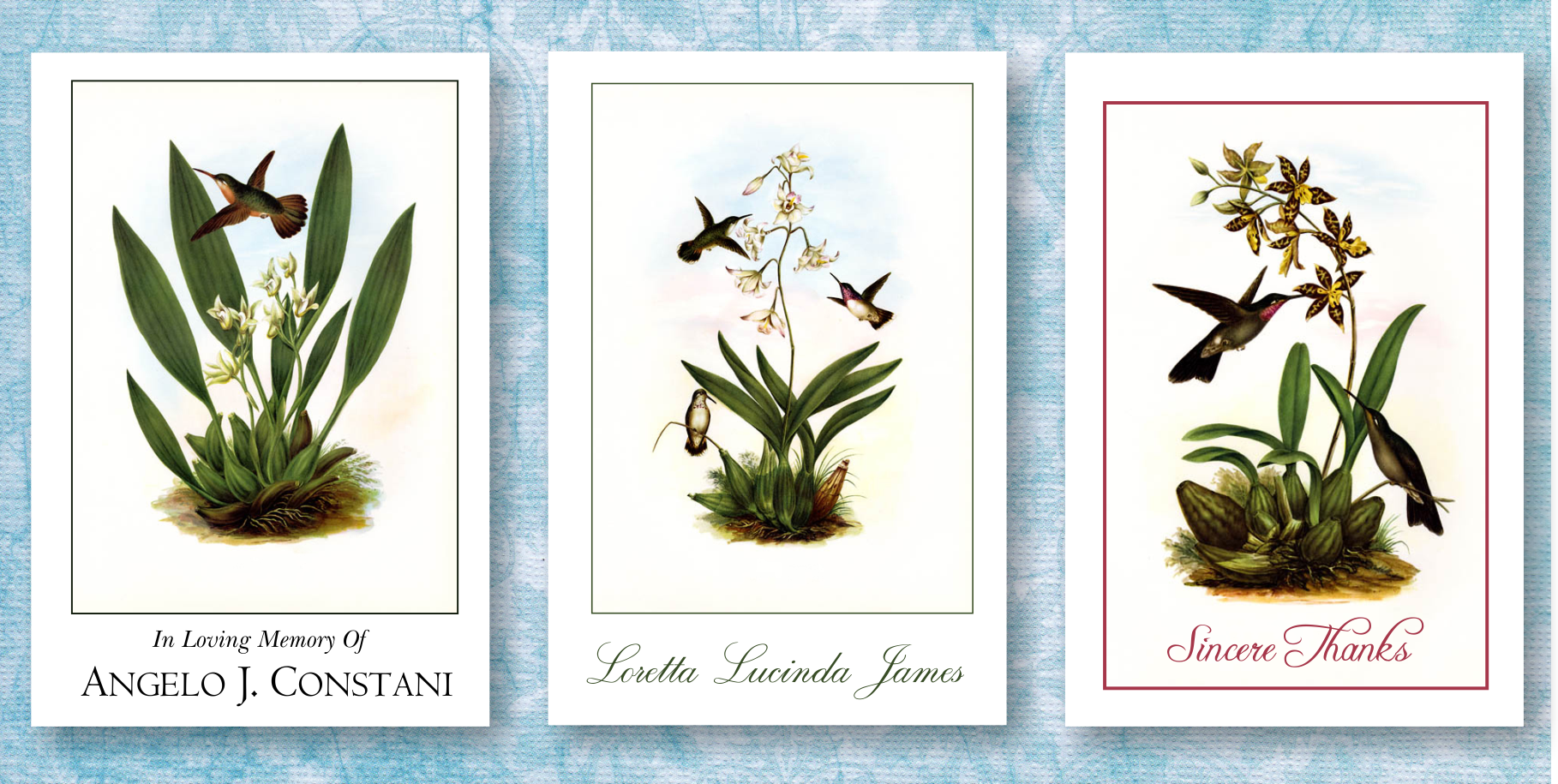 Funeral thank you cards beautiful vintage hummingbird memorial funeral thank you cards printed in australia izmirmasajfo Choice Image