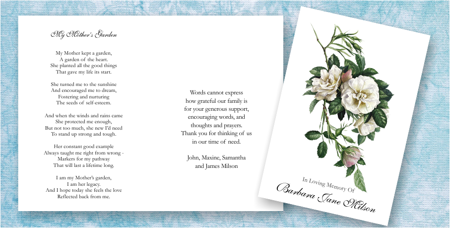 Funeral Memorial Poems – Funeral Words for Cards