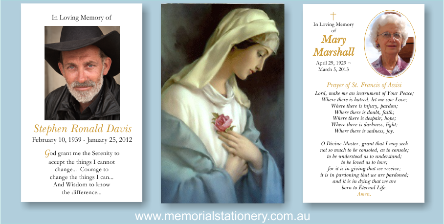 Ave Maria Funeral Prayer Cards - Memorial Thank You Stationery ...