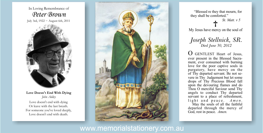 Funeral Prayer Card Designs: Glorious Saint Patrick | Memorial ...