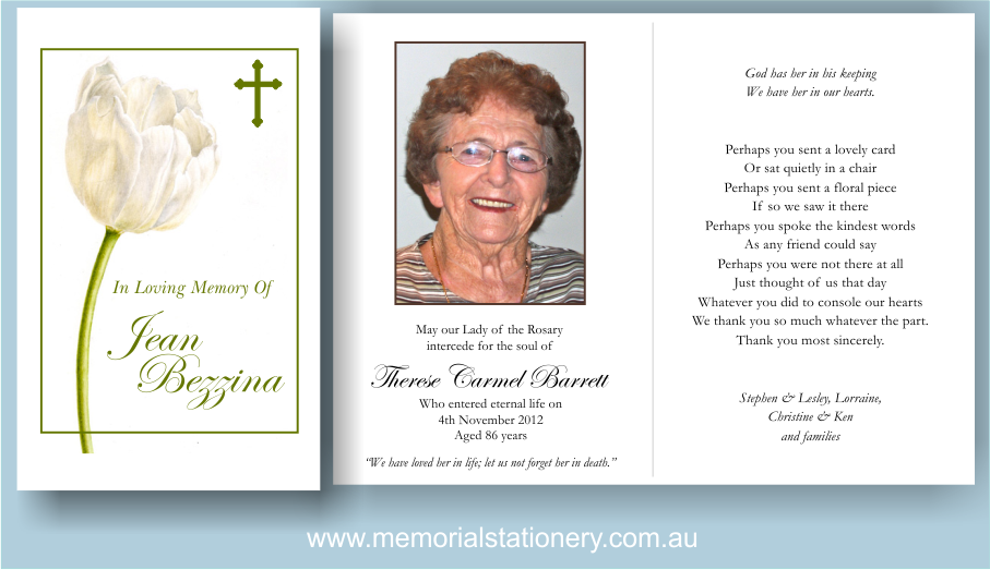 Memorial Cards For Funeral  Prayer Card Template Free