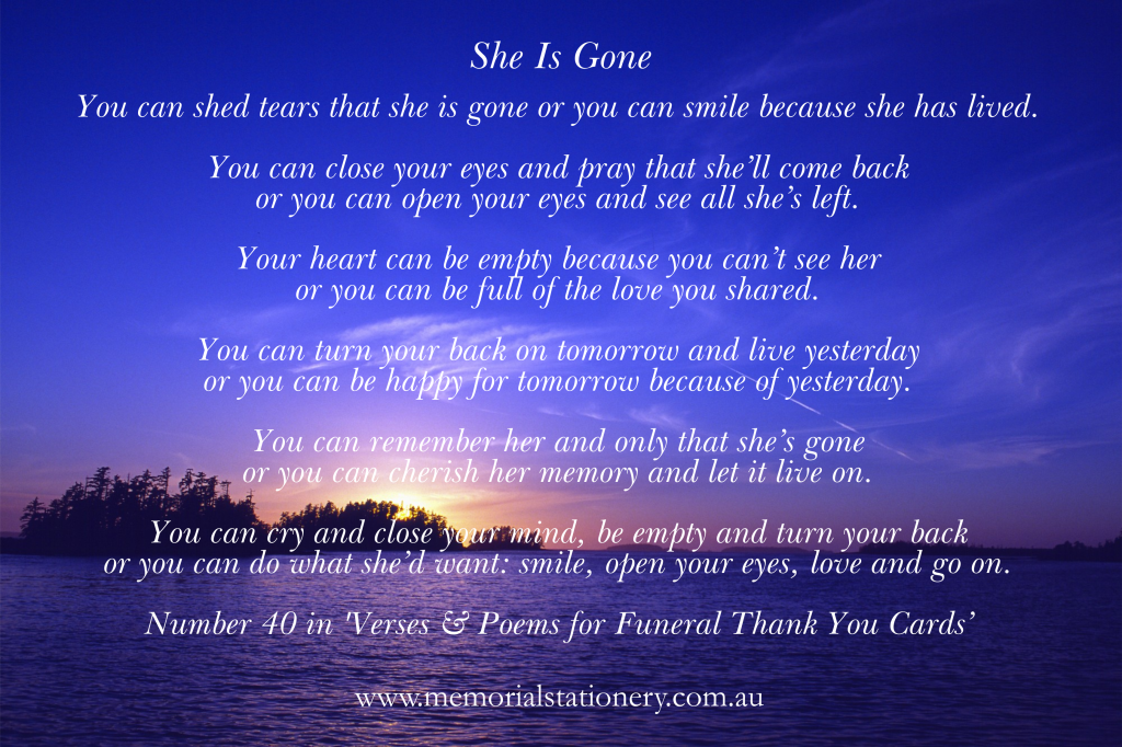 Funeral Thank You Card Verse She Is Gone Memorial Funeral