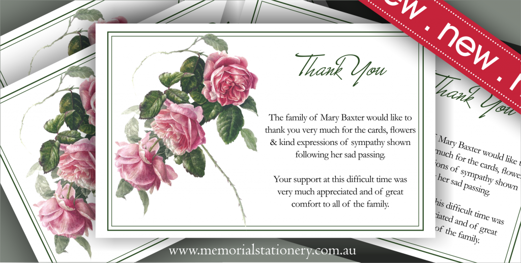 New Personalized Antique Tea Rose Sympathy Thank You Card – Sympathy Thank You Notes
