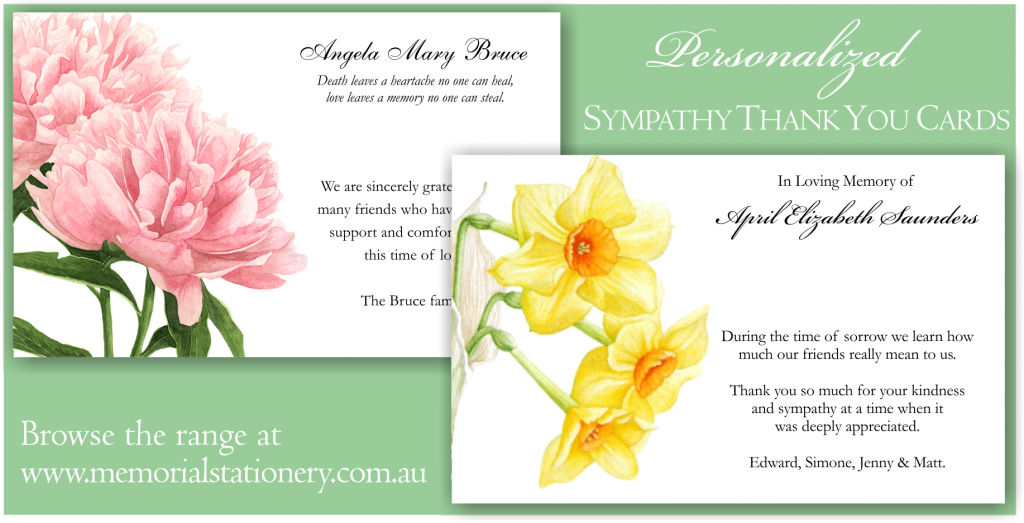 New Sympathy Funeral Thank You Cards Personalized Memorial
